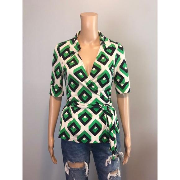 888222c74097a Diane Von Furstenberg Tops - RARE DVF Vintage green print wrap silk blouse  top